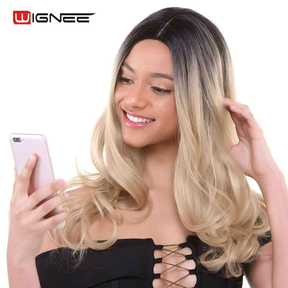 Wignee Sentetik Peruk Kadınlar Için Yüksek Yoğunluklu Isıya Dayanıklı Doğal Kahverengi Sarışın Günlük Orta Parça Sahte Dalga Uzun Saç peruk