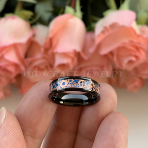 Image 5 - 6mm 8mm Black Wedding Bands Tungsten Carbide Rings for Men Women Rose Gold Gears Blue Carbon Fiber Inlay Polished Comfort Fit