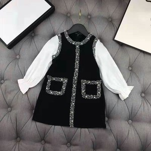 Spring Autumn girls dress baby vestidos kids dress children brand clothes fashion pearl pocket floral cuff 4 to 12 yrs(China)