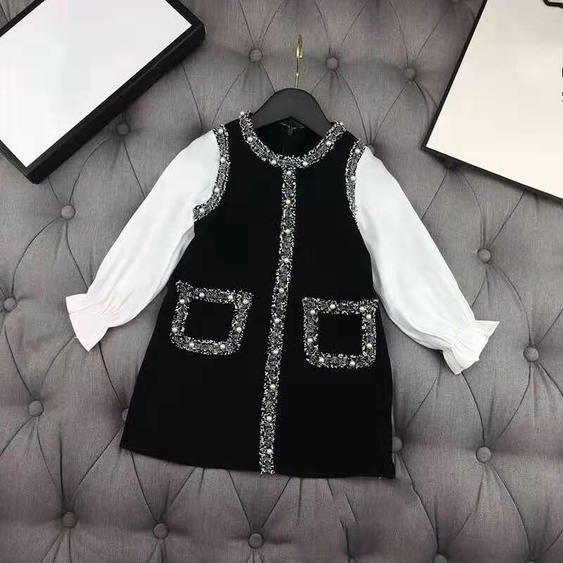 Spring Autumn Girls Dress Baby Vestidos Kids Dress Children Brand Clothes Fashion Pearl Pocket Floral Cuff 4 To 12 Yrs