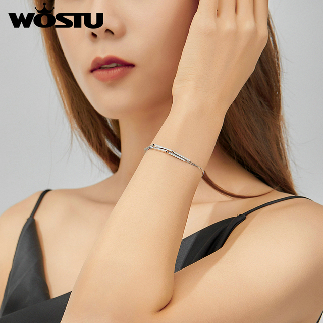 WOSTU Real 925 Sterling Silver Geometry Bracelet Double Layer Chain Link For Women Original Bracelets Luxury Jewelry Gift CQB170