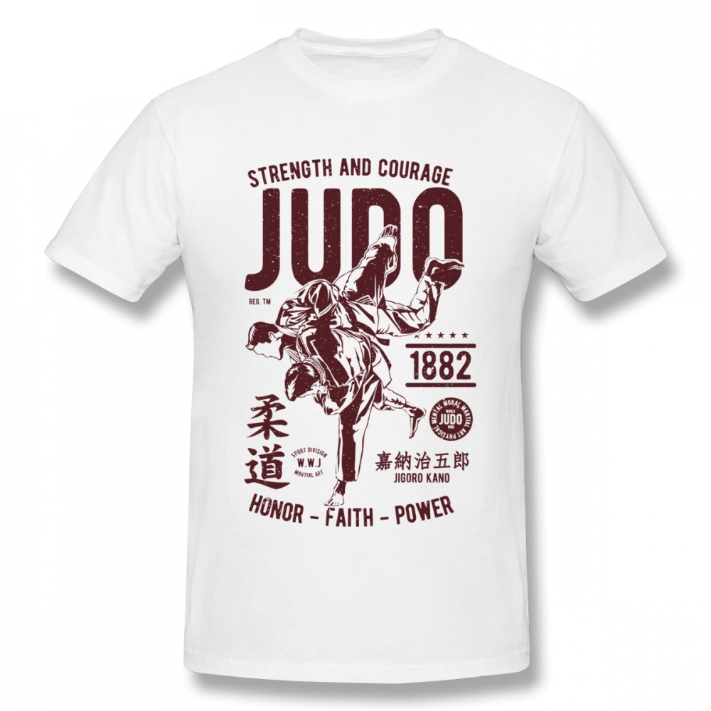STRENGHT AND COURAGE JUDO 1882  FAITH POWER T SHIRT  Tee Unisex Unique Design T Shirt Cotton Big Size Homme T-shirt