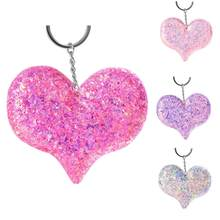 Shiny Sequins Love Heart Pendant Keychain Key Ring Holder Bag Hanging Ornament(China)