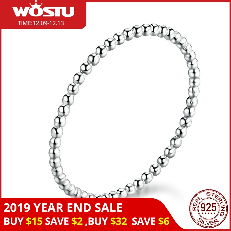 WOSTU 100% Real 925 Sterling Silver Rings 2019 New Desgin Simple & Stylish Shape Rings Hot Fashion S925 Jewelry CQR574
