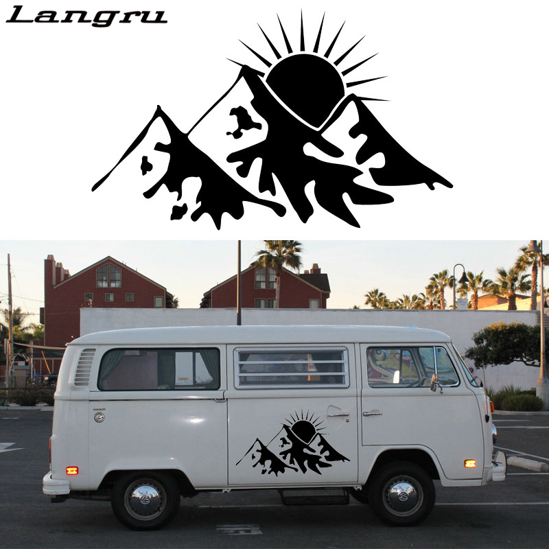 Langru Earlfamily 2x Snowy Sun Graphic Van Rv Trailer Truck <font><b>Motorhome</b></font> Vinyl Graphics Kit <font><b>Decals</b></font> Door Car <font><b>Stickers</b></font> Jdm image
