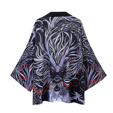 #3737 Summer 2020 Dragon Print Black Kimono Jacket For Men Loose Casual Streetwear Hip Hop Japanese Jackets Cardigan