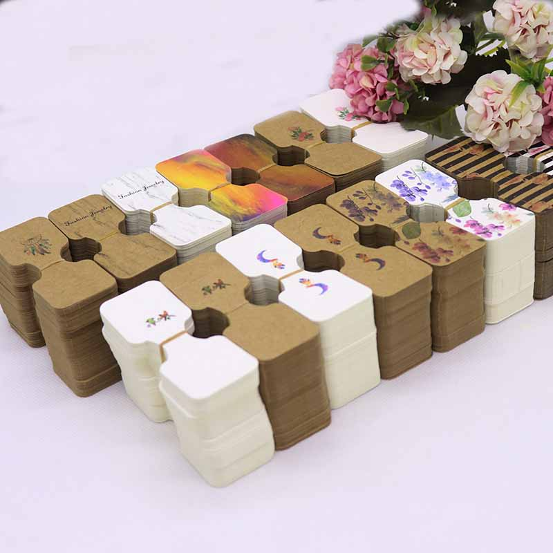 New 50pcs 9x3.5cm White /brown Color Colorful Handmade Wholesale Necklace With Set Package Tag Card Display Hanger Card Tag