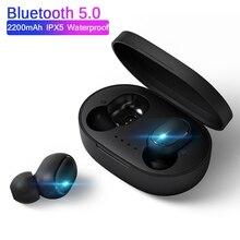 A6S için TWS kablosuz Bluetooth kulaklık Redmi Airdots LED ekran 5.0 Bluetooth kulaklık kulaklık iPhone Samsung için Mic ile