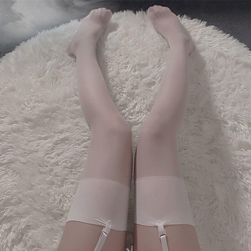 Однотонные женские чулки в рубчик, высокие чулки до бедра, ультратонкие прозрачные шелковые чулки, женское сексуальное бесшовное нижнее бе...