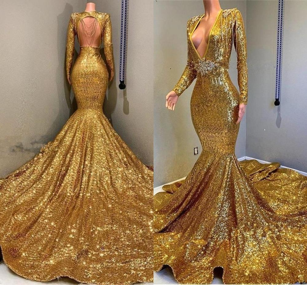2020 Gold Sparkling Long Sleeves Sequins Mermaid Prom Dresses Deep V Neck Beaded Stones Backless Sweep Train Party Evening Gowns