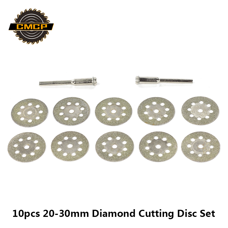 10PCS 20/22/25/30mm Mini Diamond Cutting Disc With Mandrel Circular Saw Blades Diamond Grinding Wheel For Dremel Rotary Tool
