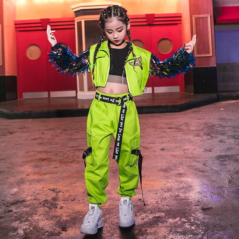 Hip Hop Dance Costumes Fluorescent Green Tassel Coat Girls Jazz Clothing Children Street Dancing Stage Performance Wear DN4099