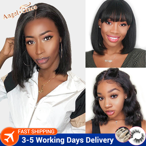 Angel Grace Bob Lace Front Wigs With Bangs 13X4 Brazilian Straight/ Loose Human Hair Bob Wigs Pre Plucked With Baby Hair Remy(China)