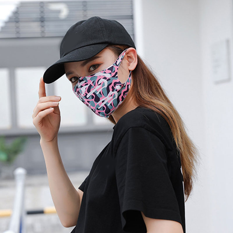 Mouth Mask Breathable Cotton Fashion Pink  Reusable Face  Sunscreen Dustproof Flower Mouth Cover