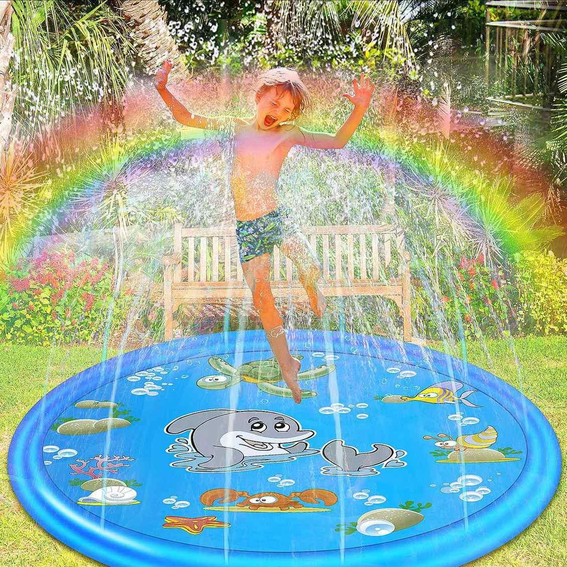 172cm Round Kid Inflatable Splash Play Pool Mini Spray Swimming Pool Fun Water Playing Sprinkler Mat Yard Outdoor Summer PVC