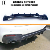 G30 G31 FD Style Carbon Fiber Rear Bumper Diffuser for BMW G30 G31 520 530 540 550 with M Package Sports Bumper 2017 UP|Bumpers|   -