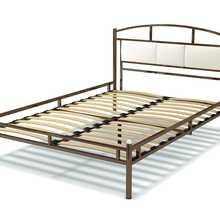 Кровать Тая-3 металлическая (Экокожа белая, Сталь/Экокожа, Венге (сталь), 1400х2000 мм) ГайваМебель
