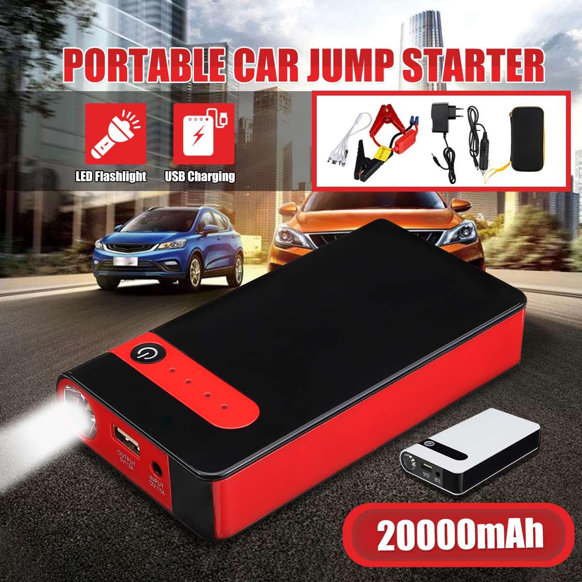 20000mAh Jump Starter 12V Car Jump Starter Starting Device Power Bank Emergency Car Battery Booster Buster Jump Starter
