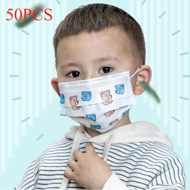 50pcs 3-13 Years Old Children's 3 Layers Face Mask Kid Non-woven PP Face Anti-bacterial Anti-flu Disposable Cartoon Printed Mask 1