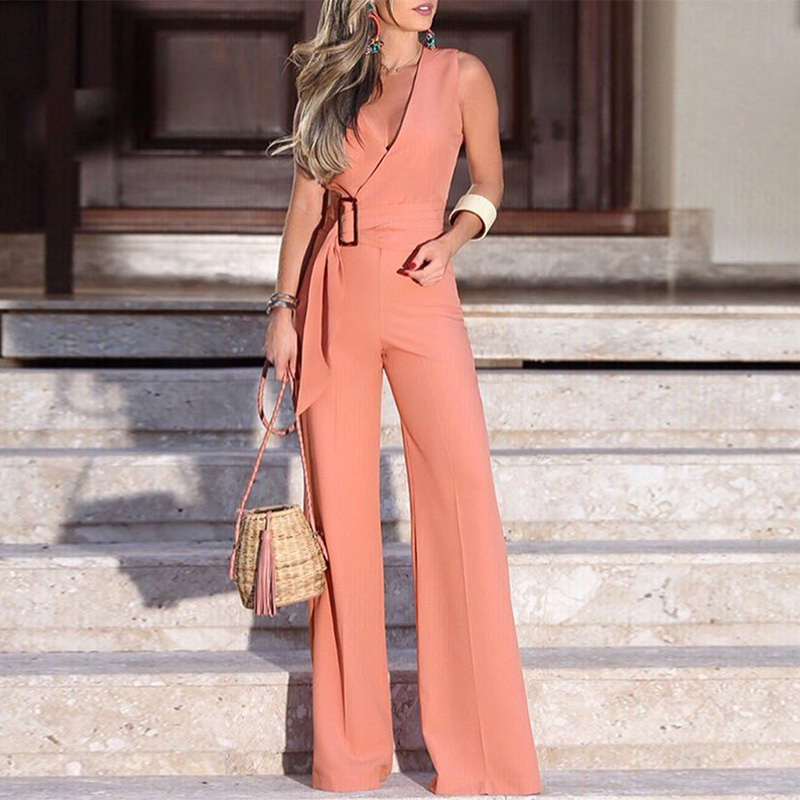 Fashion Summer Sleeveless Casual Rompers Jumpsuits Women V-Neck Buckle Self-belt Wide Leg Jumpsuit One Piece Overalls Streetwear