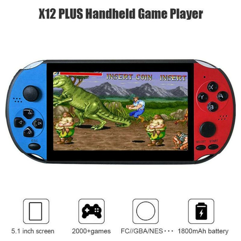 """X12 5.1"""" Colorful Screen Retro Game Console 128Bit Handheld Game Host Machine Handheld Game Players     - title="""
