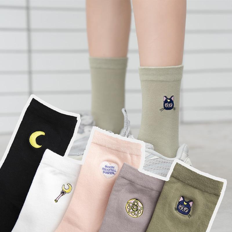 Japanese Cartoon Cute Sailor Moon Socks For Women Harajuku Streetwear Cotton Kawaii Students Socks 5 Pairs/Lot