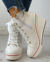 Eyelet Lace-Up Platform Wedge Sneakers  patchwork casual stylish wedge pu patchwork lace up sneakers