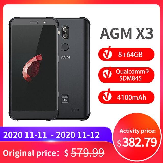 الرسمية AGM X3 JBL cobrand ding 5.99 4G الهاتف الذكي 8G + 64G SDM845 أندرويد 8.1 IP68 مقاوم للماء الهاتف المحمول صندوق مزدوج المتكلم NFC