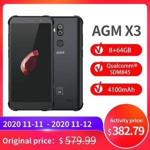 Image 1 - OFFICIAL AGM X3 JBL Cobranding 5.99 4G Smartphone 8G+64G SDM845 Android 8.1 IP68 Waterproof Mobile Phone Dual BOX Speaker NFC
