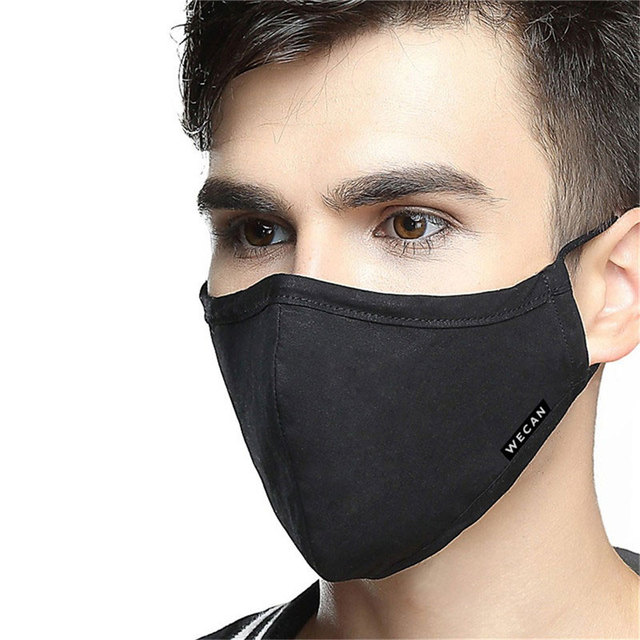 korean Cotton Anti Dust Mouth Face Mask Kpop Fabric Face Mask with Carbon Filter Anti Haze Flu PM2.5 Black Mask on the Mouth 4