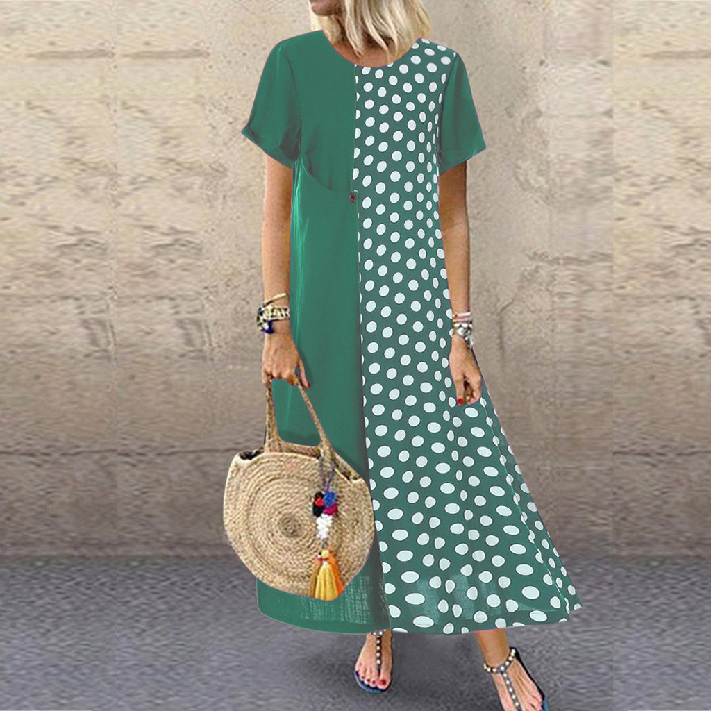 KLV 2019 Women Dress платье Dress Plus Size Cotton And Linen Dot Print Pachwort O-Neck Pockets Casual Dress Free Shipping D4