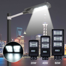 Motion Sensor Solar Street Light 20W/40W/60W 15000mAh Waterproof LED Lamp Parking Lot Lights for Garage Patio Garden Path