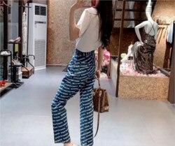 AAW047 2020 весенние женские темно-серые прямые укороченные джинсы с буквенным принтом и логотипом A2