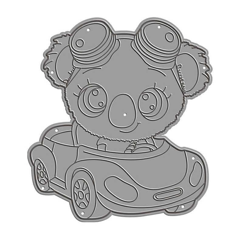 2020 3D新diyコアラ駆動車の金属切削ダイス漫画動物ため 3D紙装飾エンボスステンシルカード