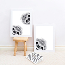 Cute Peekaboo Sloth Wall Art Print And Poster , Lovely Curious Animal Sloth Canvas Painting Picture Kids Room Nursery Wall Decor