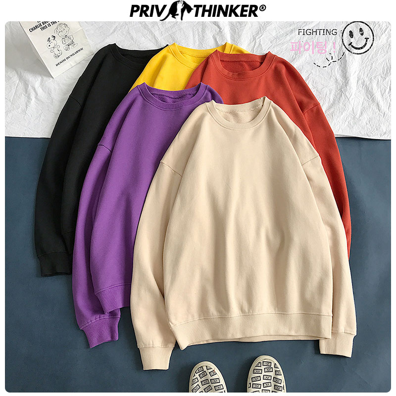 Privathinker Woman Colorful Solid Casual Sweatshirts Female Collage Korean Pullovers Autumn Hoodies Lady 2019 Oversize Clothes