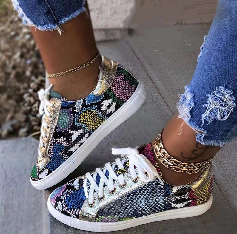 2020 Women Serpentine Prints PU Leather Vulcanized Shoes Lace Up Female Sneakers Fashion Casual Platform Woman Flat Shoes