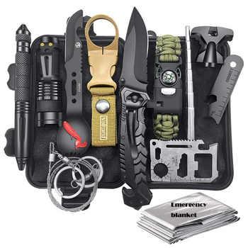 HuntingE mergency Survival Kit Fishing SOS,EDC Survival Gear Outdoor Camping Hiking Kit with knife flashlight Emergency blanket