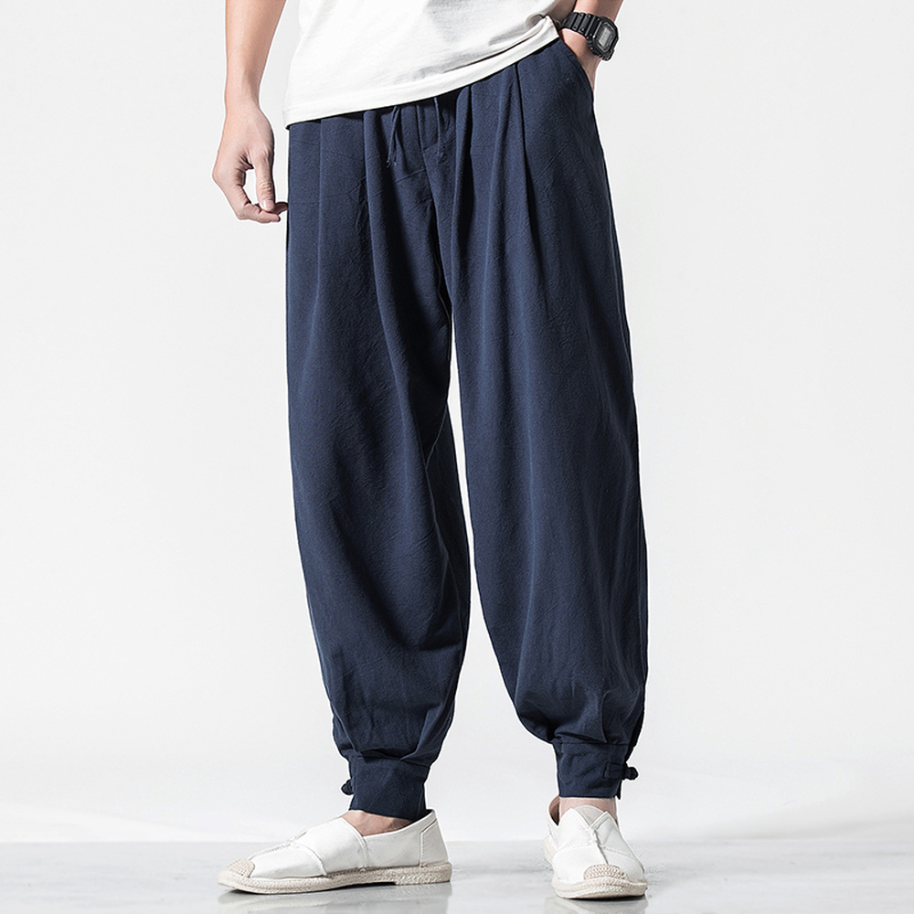 Traditional Chinese Clothing For Men Wushu Kung Fu Pants Male Casual Trousers Loose Harem Pants Bloomers Plus Size M-5XL