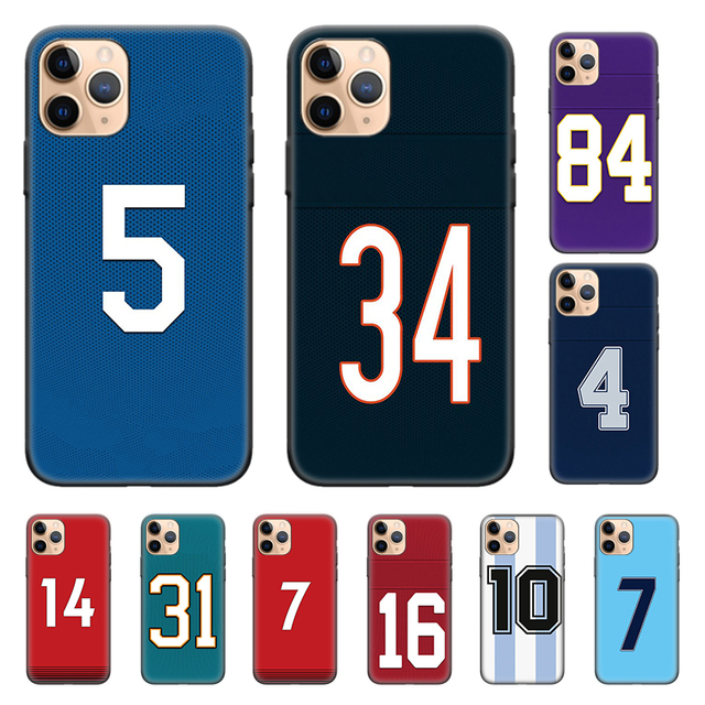 Housse en Silicone pour iPhone X XS XR XS 11 11Pro Max 7 8 6 6S 5 5S SE Plus 7 + 8 + numéro de coque arrière de téléphone Football