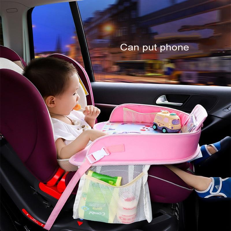 Multifunctional Cartoon Baby Car Safety Seat Tray Waterproof Stroller Holder Kid Desk Food Drink Table Tray Kids Car Accessories