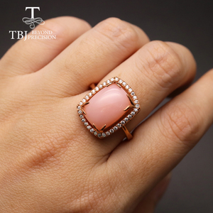 Image 5 - Женский комплект украшений с опалом, кольцо и сережки из серебра 925 пробы с натуральным розовым опалом и изумрудом, 2020