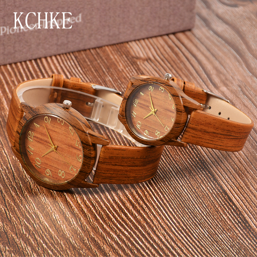 KCHKE Men Women Wood Watch Dial Bamboo Coffee/beige Genuine-Leather Male Reloj-De-Madera
