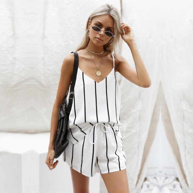 Women korean 2 Pc Sets clothes New Fashion Harajuku Camis V-Neck Striped Crop Top Loose Short Pants sexy two piece Suit MUQGEW