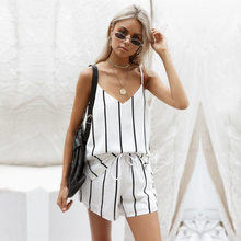 Women korean 2 Pc Sets clothes New Fashion Harajuku Camis V-Neck Striped Crop Top Loose Short Pants sexy two piece Suit MUQGEW(China)