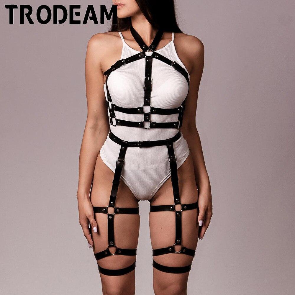 TRODEAM Sexy Erotic Underwear Garter Belt Stockings Women Full Body Bondage Harness Leather Sets 2pcs Sexy Lingerie Suspenders