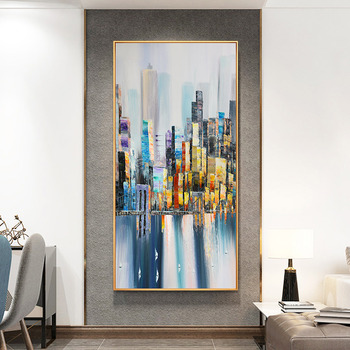 Hand-painted Oil Painting Abstract Landscape Paintings Urban Architecture Modern Minimalist Restaurant Entrance Living Room Deco