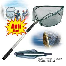 New 190cm Retractable Landing Net Telescopic Folding Fishing Pole Extending Fly Carp Course Sea Mesh For