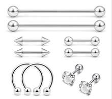 10Pcs/Lot 316L Stainless Steel Long Barbell Earring Labret Ear Nail Rings Tongue Ring Body Piercing Jewelry Wholesale(China)