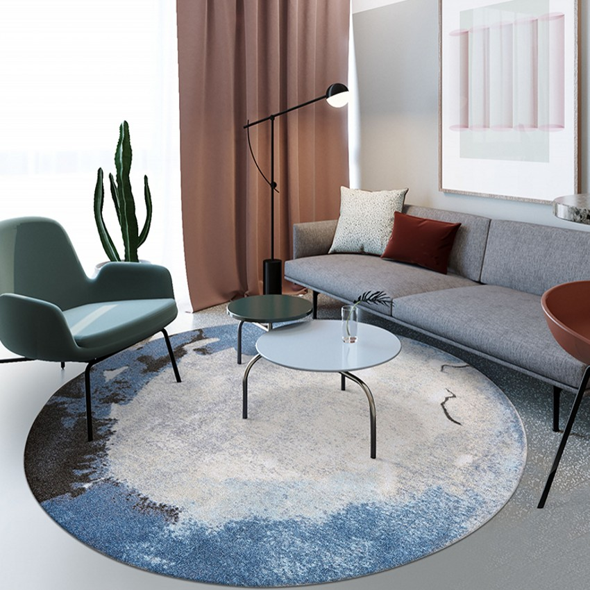 Post Modern Pattern Round Shaped Art Living Room Rug,  Big Size Nordic Style Home Decoration Machine Weaved Bedside Carpet